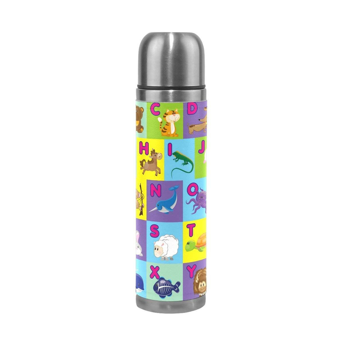 Thermos 17.5 oz Kids Adults A B C Animal Alphabet Custom Water Bottle Double Wall Vacuum Insulated Stainless Steel Canteen with PU Leather