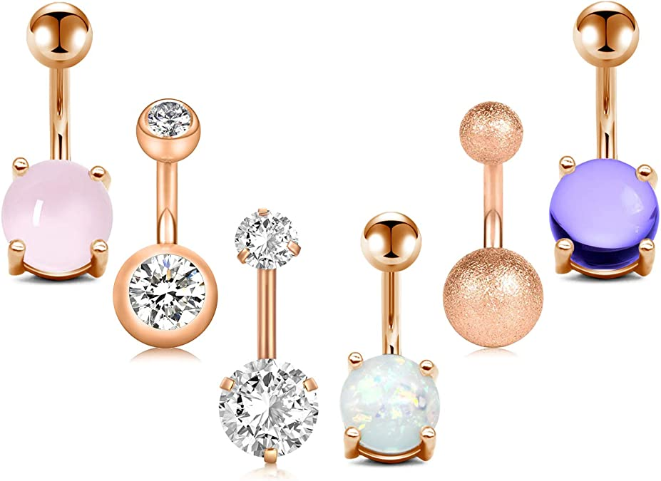 JFORYOU 5 PCS 14G Stainless Steel Belly Button Rings Set Women Reverse Navel Rings Graceful Synthetic Opal Nature Jewelry CZ Body Piercing Jewelry