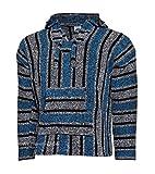 El Paso Designs Classic Mexican Baja Hoodie Pullover Poncho (Blue-Black-White XX)