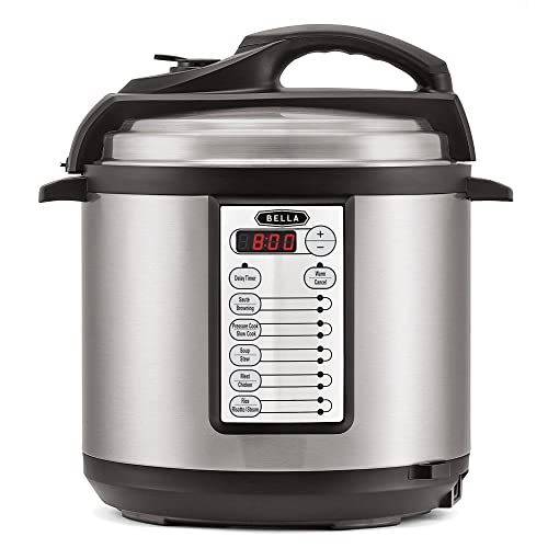 Bella 6 Litre 12-in-1 Multi-Function Digital Electric Pressure Cooker (1000W) – Cooks Food 70% Faster Than Conventional Ovens – Multifunctional Slow Cooker, Rice Cooker, Steamer, Soup Maker, Stew, Saute & Browning Multi Cooker Functions - 60 Day Money Back Guarantee