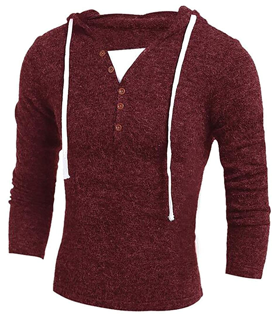 Fulok Mens Button V-neck Hooded Drawstring Knit Henley Pullover Sweaters Wine Red Large