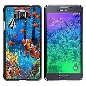 TECHCASE**Cubierta de la caja de protección la piel dura para el ** Samsung GALAXY ALPHA G850 ** Fish Painting Underwater Sea Coral Koi