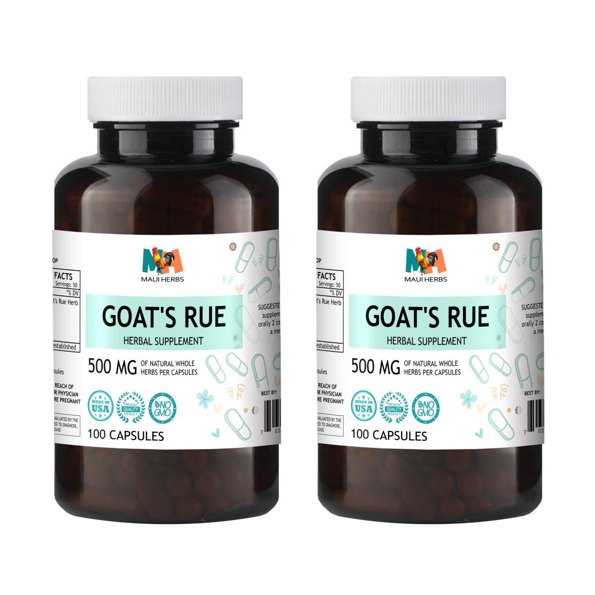 Goat's Rue Capsules, 500 mg, Organic Goat's Rue Herb (Galega officinalis) (2x100 Capsules)
