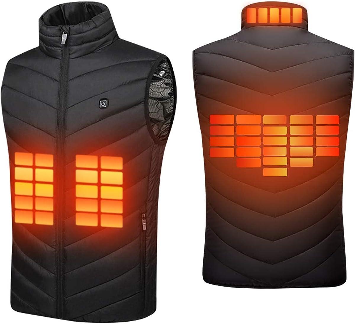 Suxman Chaleco calefactable USB, Chaleco calefactable para Hombres y MujeresTemperatura térmica Ajustable, Carga USB, calefacción de Espalda y Cuello, Chaqueta Invierno- Lavable