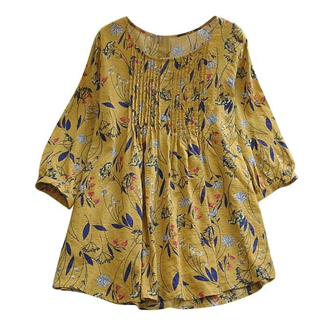 Blusa Mujers Yesmile Las Mujeres Camisa Blusa Plisada Floja de la Manga del o-Cuello de la Manga 3/4 DE la impresión de la Moda de Las Mujeres: Amazon.es: ...