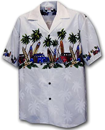 cc03ab12 Hawaiian Aloha Shirt Island Woodies White (Made in Hawaii) at Amazon Men's Clothing  store: