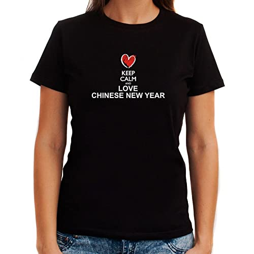 Idakoos Keep calm and love Chinese New Year chalk style Maglietta donna
