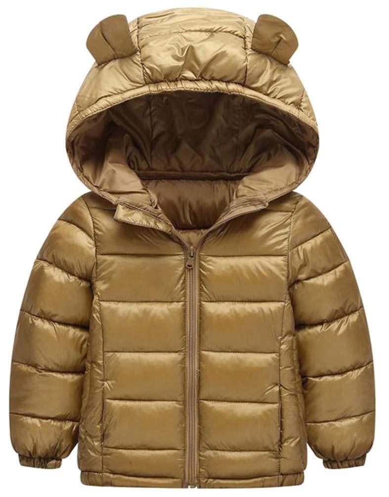 Hajotrawa Boy Quilted Zip Down Warm Hooded Lightweight Jacket Parka Coat Khaki 4T
