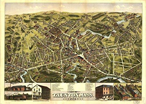 Map: 1875 City of Taunton, Mass. 1875|Massachusetts|Taunton|Taunton Mass|