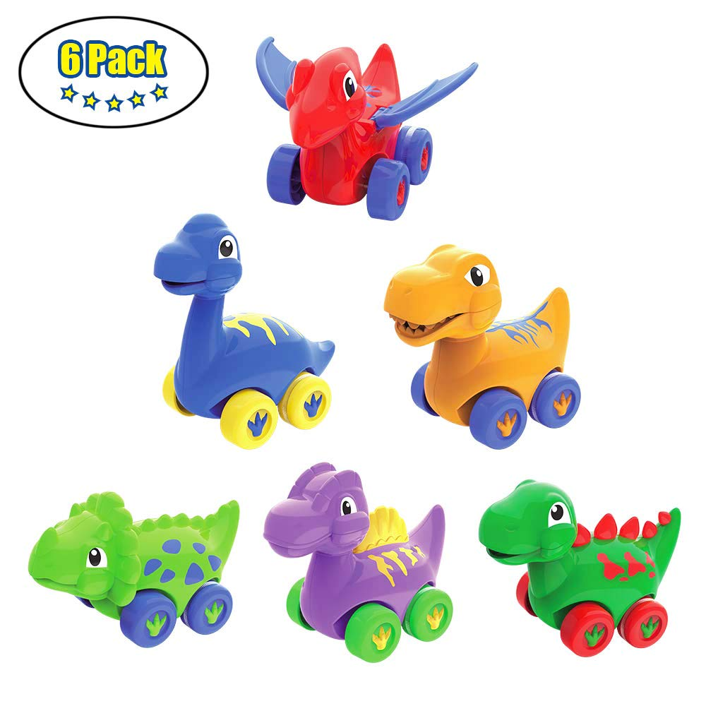 LUKAT Dinosaur Toys Gifts for Toddler Age 1-2-3 Year Old Infant Baby Dino Pull Back Toy Cars for Boys and Girls Kids Jumbo Animal Toys ( 6-Pack )