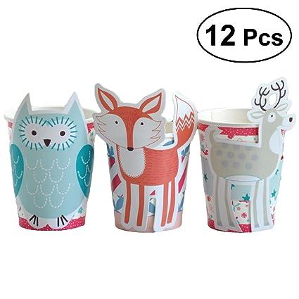 Bestoyard 12pcs Animal Modeling Cup Sleeve Para Vasos Desechables