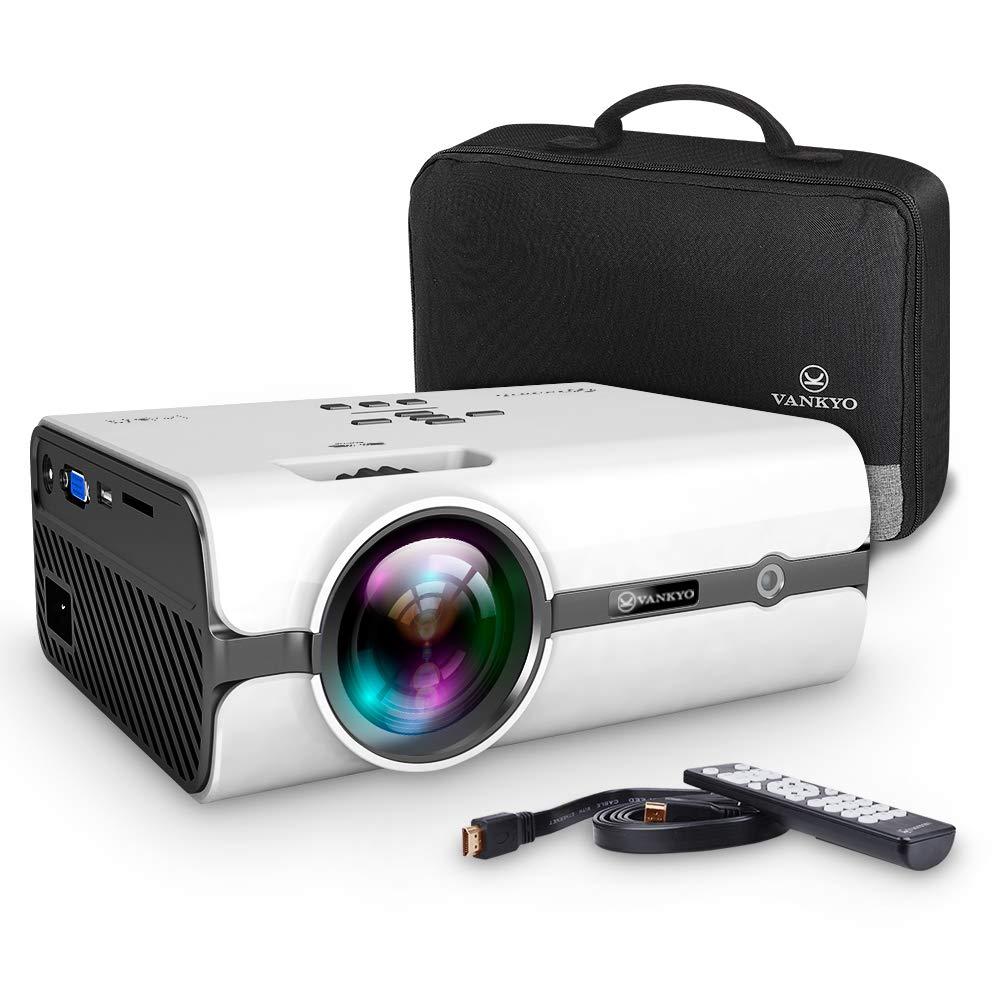 VANKYO Leisure 410 Mini Beamer LED Projektor 2500 Lumen , 50000 Stunden Heimkino Beamer Full HD 1080P unterstützt , Kompatibel mit Fire TV Stick HDMI VGA USB AV TF für Smartphone Laptop, schwarz