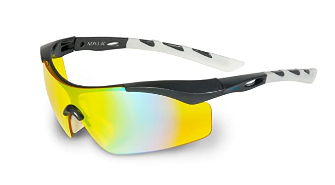 Nexi S-4 Sonnenbrille ideal als Sportbrille oder Fahrradbrille für Herren und Damen mit Revo S-4B, schwarz