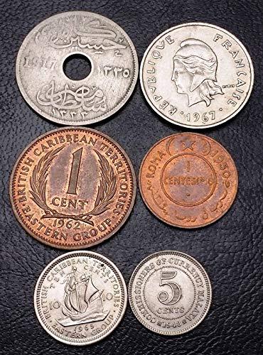 Lot of 6X World Coins - Somalia, British Caribbean, Malaysia, Egypt, Polynesia