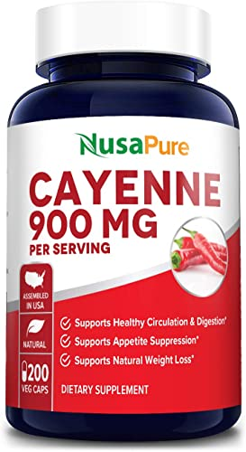 Cayenne Pepper 900mg 200 Veggie Capsules Non-GMO Gluten Free – Aids Weight Loss, Protects Against Gastric Ulcers, Boosts Circulation Suppresses Appetite