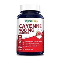 Cayenne Pepper 900mg 200 Veggie Capsules (Non-GMO & Gluten Free) - Aids Weight Loss...