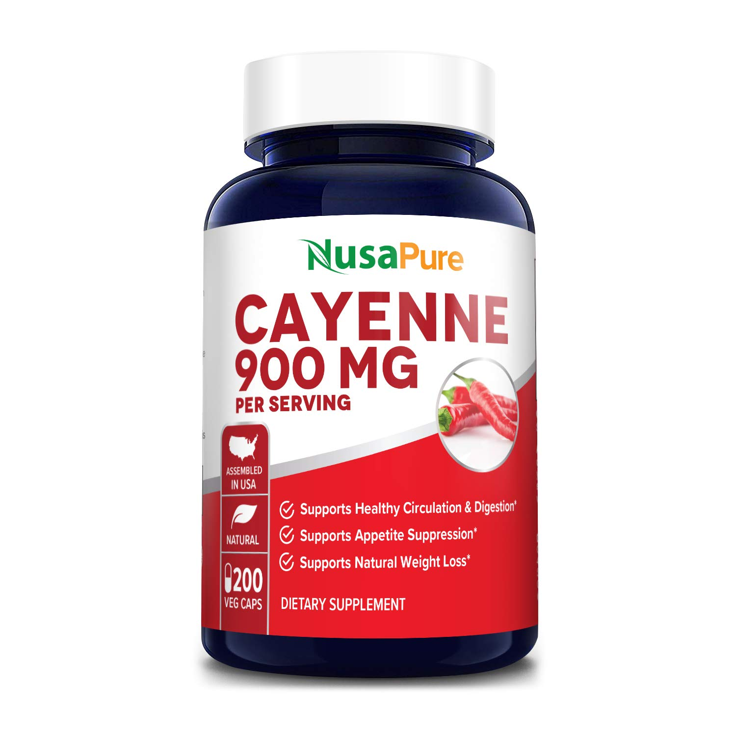 Cayenne Pepper 900mg 200 Veggie Capsules (Vegetarian, Non-GMO & Gluten-Free) - Supports Healthy Weight and Healthy Digestion*. Supports Circulation & Healthy Appetite*