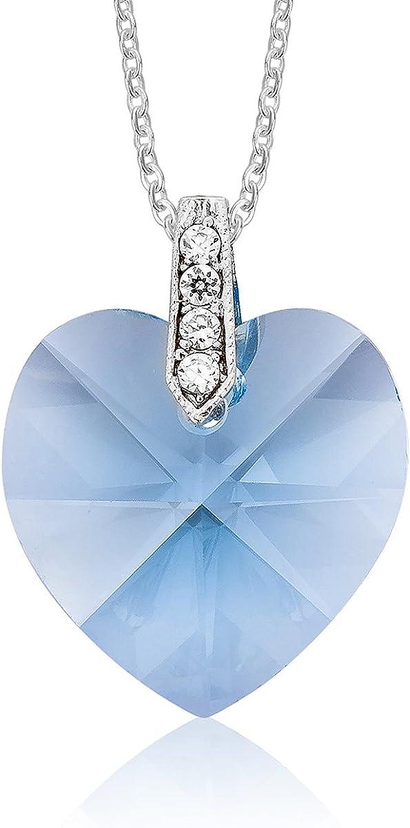DTP Silver - Collar/Cadena Ajustable de 40 a 45 cm con Colgante en Forma de Corazón - Plata de Ley 925 con Cristales Swarovski de Color Agua Marina