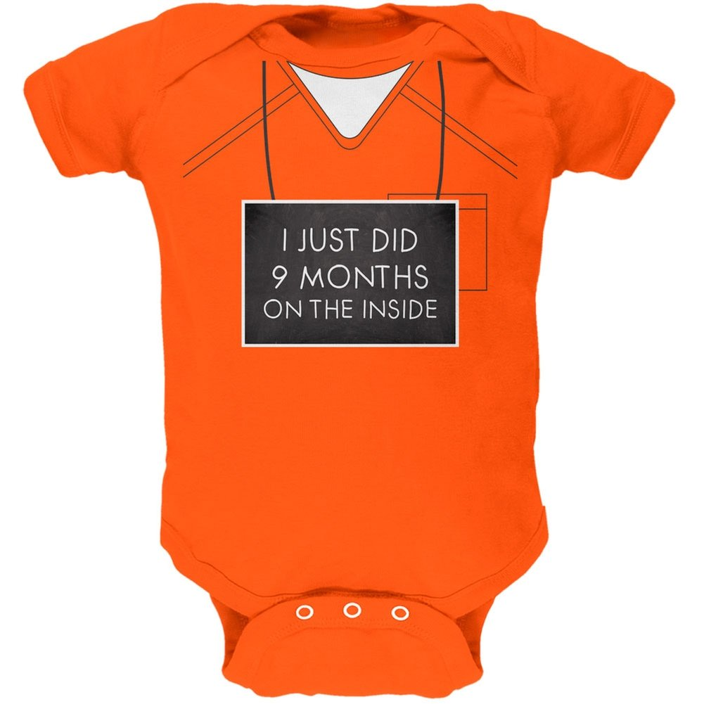 9 Months Inside Prisoner Inmate Costume Orange Soft Baby One Piece Tees Plus