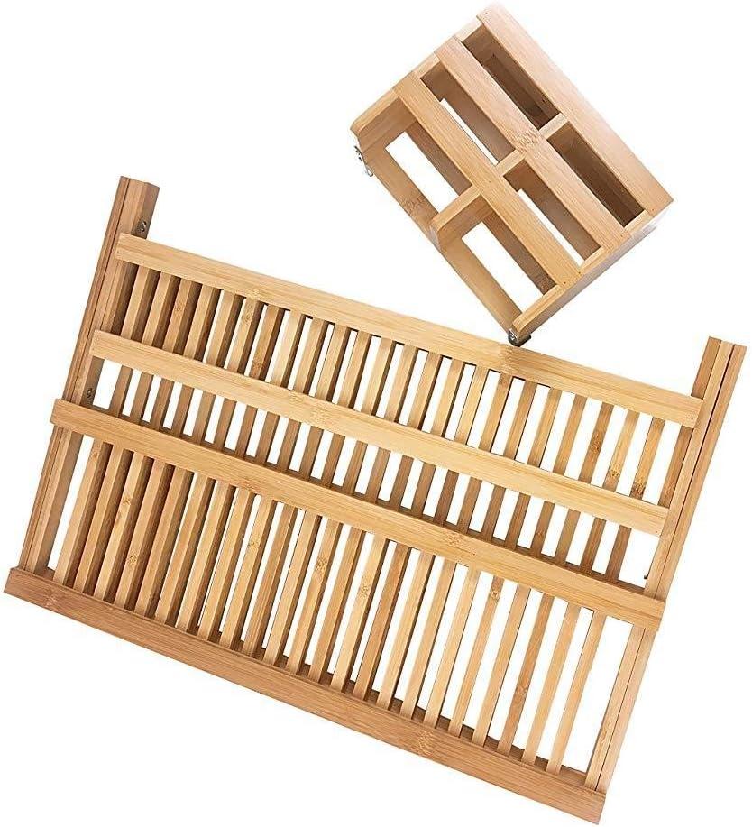 IUwnHceE Bambou Vaisselle Etendoir Pliant 2tier /égouttoir Vaisselle Etendoir avec des ustensiles Set Holder Fournitures Accueil