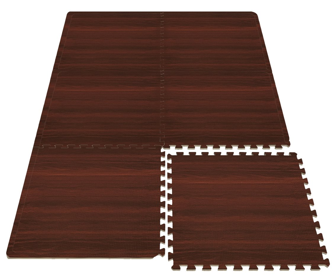 Sorbus Wood Floor Mats Foam Interlocking Wood Mats Each Tile 4 Square Feet 3/8-Inch Thick Puzzle Wood Tiles with Borders – for Home Office Playroom Basement (6 Tiles 24 Sq ft, Wood Grain - Cherry) by Sorbus (Image #4)