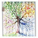Colorful Tree Art Print Four Seasons Shower Curtain, 84 Inches Extra Long, Polyester Fabric, Bath Decorations Bathroom Decor Sets with Hooks