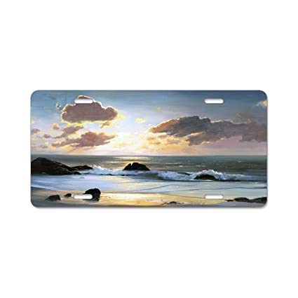 YEX Beach Please Wave License Plate Frame Car Tag Frame Auto License Plate Holder 12 x 6
