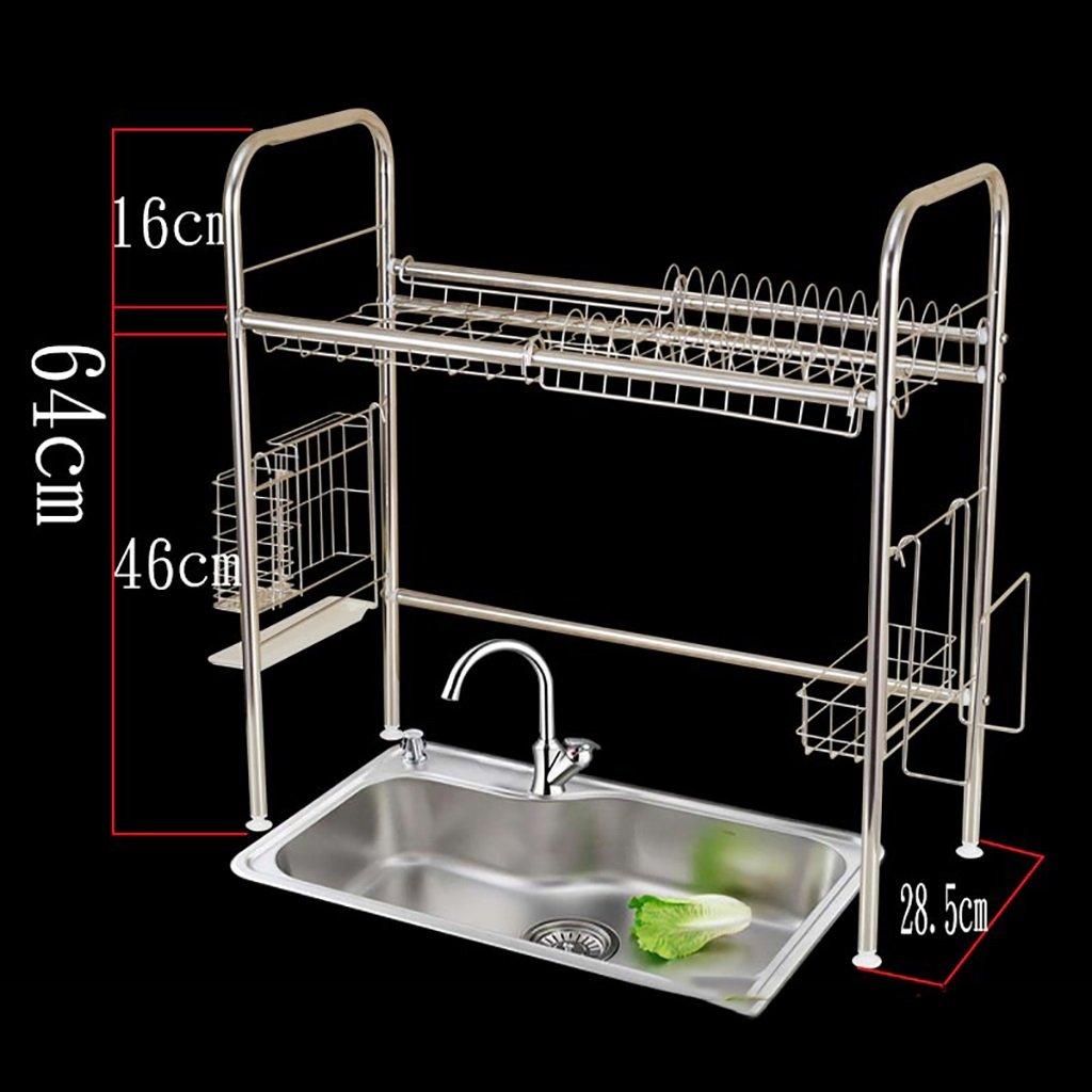 Kitchen Shelf Kitchen Stainless Steel Dish Rack Bracket Organizer and drip Tray Kitchen Storage Racks (Color : A)