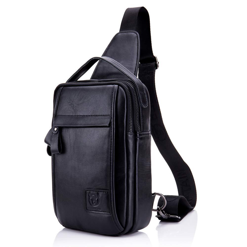 Black BULL CAPTAIN Stylish Genuine Leather Sling Backpack with TopHandle MultiPocket Crossbody Chest Bag for Men Black (Black)
