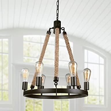 LNC Farmhouse Chandeliers for Dining Rooms Rustic Hanging Ceiling Light Fixture, A02993