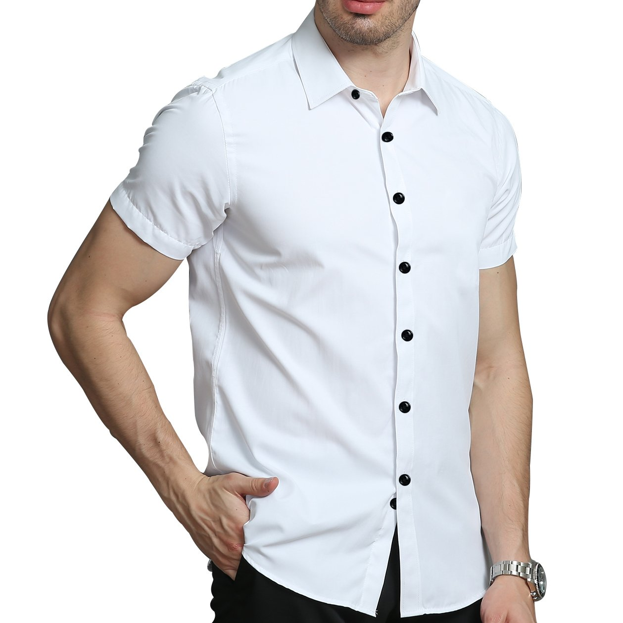 5a5e73fcc LiberalApp Men s Bamboo Fiber Solid Color White Short Sleeve Slim Casual  Business Combination Button Shirt