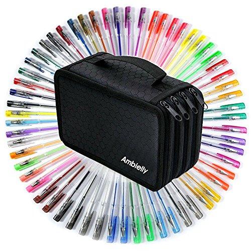 Ambielly Oxford-Bleistift-Beutel, 72 Schlitze Bleistifte Halter Farbige Bleistifte Case / Rollentasche / Schule Office Art weicher Bleistift-Beutel für Kunst-Zeichnung(72 Slots Rose-Feder-Beutel)