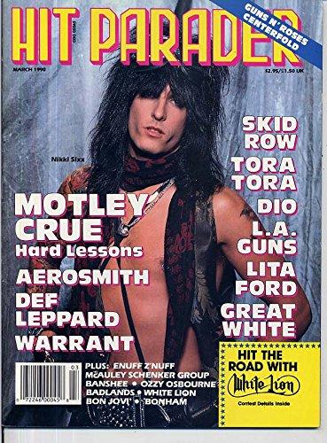 Hit Parader Magazine MOTLEY CRUE Badlands GUNS N' ROSES Michael Schenker LITA FORD Dio BON JOVI March 1990 - Ford Ronnie