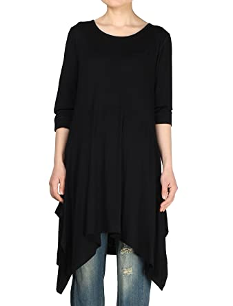 c8fbc9b233f Mordenmiss Women's Handkerchief Hem Tunic Tops Basic Shirt 11 Colors Size M  Black
