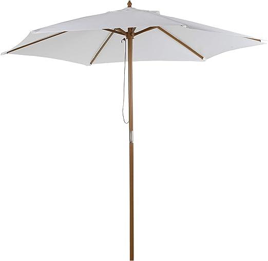 Sombrilla Parasol de Madera Ø250x230cm para Exterior Jardín Terraza Patio Cafetería con 6 Varillas Sistema de Cuerda con Fijación Desmontable Portátil Fácil de Guardar y Transportar Color Marfil: Amazon.es: Jardín