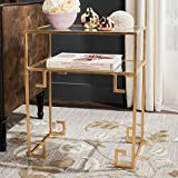 Safavieh Home Collection Berdine Gold Glass Top Greek Key Table For Sale
