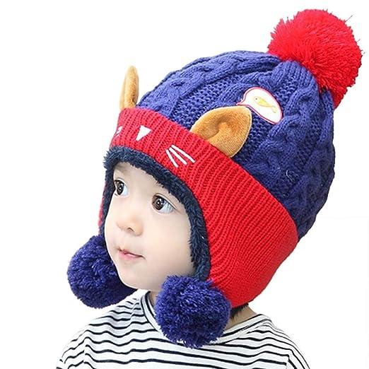 0f800fa961e Baby Beanie Earflaps Hat - Infant Toddler Girls Boys Cartoon Cat Ears Knit  Pom Hat Kids