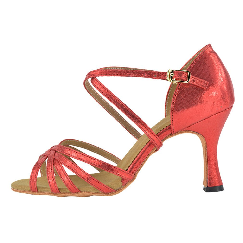 BYLE Leder Sandalen Riemchen Samba Modern Jazz Dance Dance Schuhe Latin Dance Jazz Schuhe Latin Dance Schuhe Weiblichen Erwachsenen Weichen Boden mit Hohen Absätzen Pu Rot Hoch 8 5 cm 856fc9
