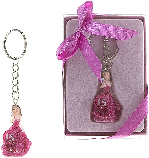 Lunaura Party Keepsake White Set of 12Girl Quinceanera 15 Lady Holding Wand Key Chain Favors