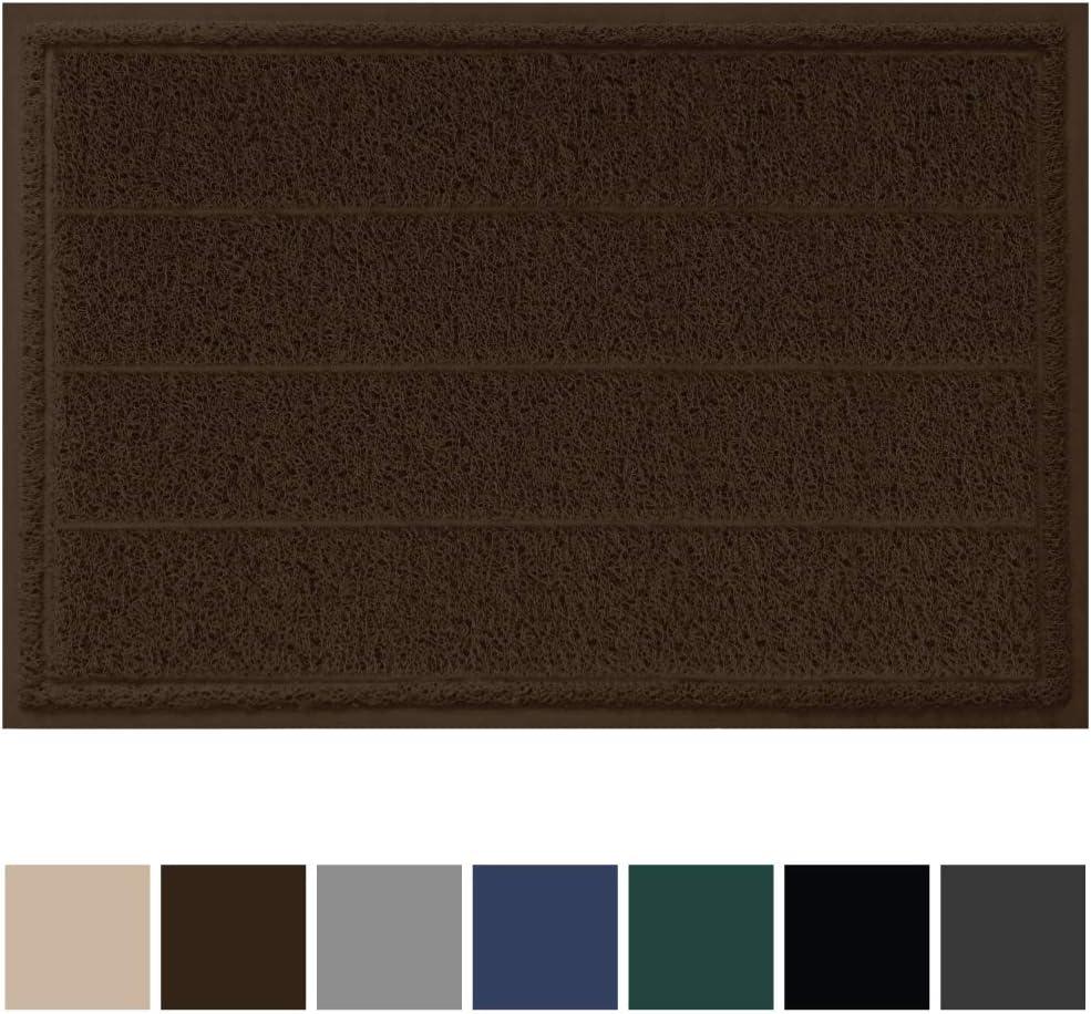 Gorilla Grip Original Durable Indoor Door Mat, 35x23, Large Size, Heavy Duty Doormats, Commercial Waterproof Stripe Doormat, Easy Clean, Low-Profile Mats for Entry, Garage, High Traffic Areas, Brown