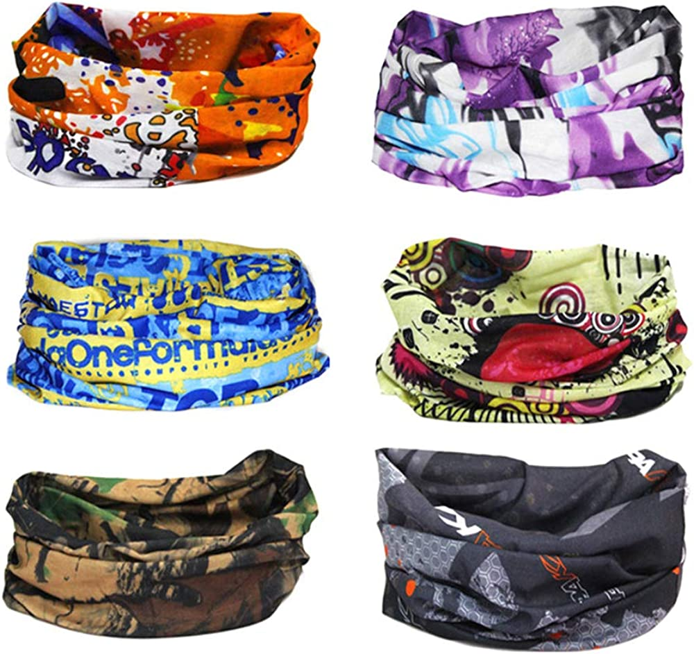 Finrezio 6PCS Seamless Bandanas Balaclavas Multifunctional Headband Scarf Headwrap Neckwarmer for Dust, Outdoors,Women's Novelty Bandanas for Sports,Music Festivals, Raves, Riding: Jewelry