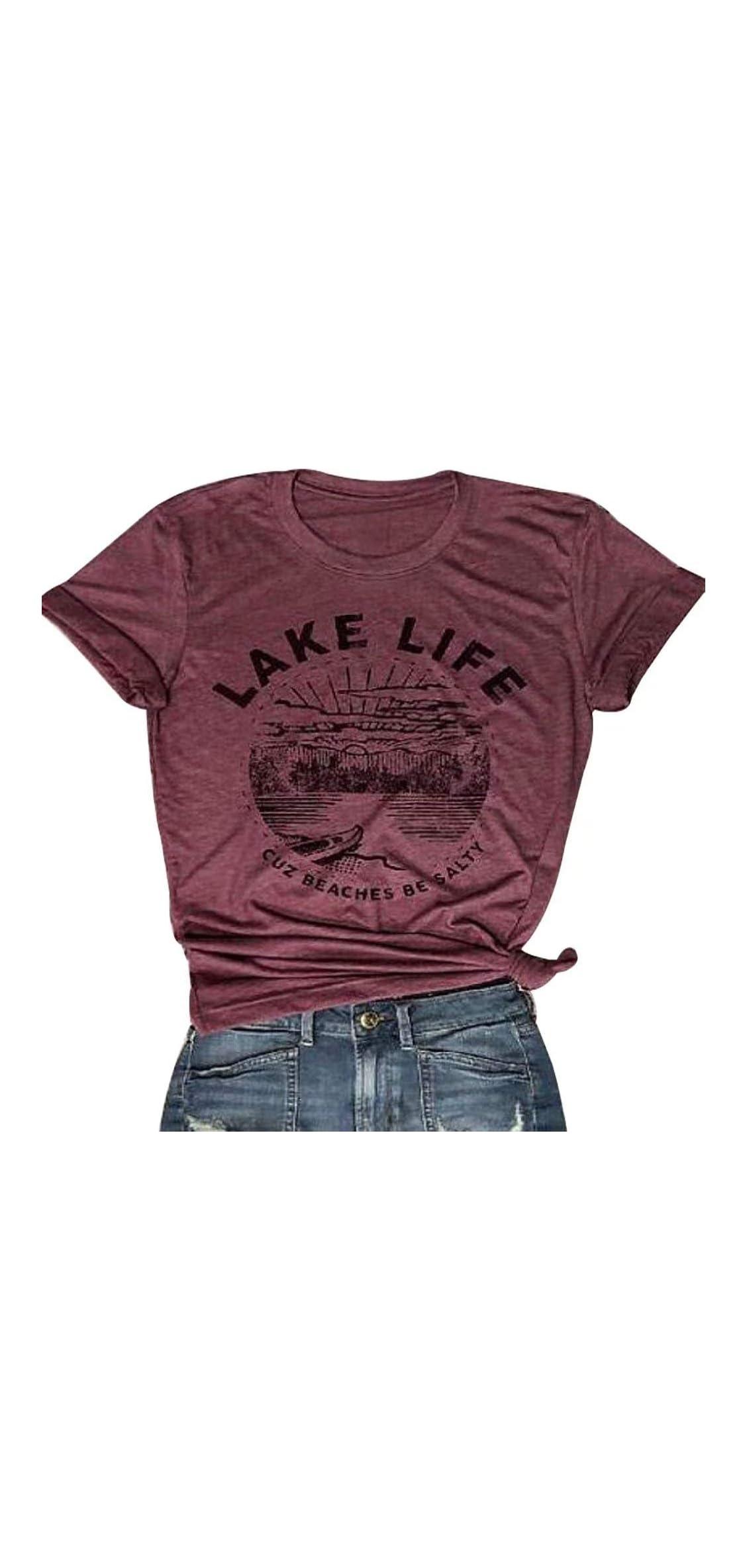 Lake Life T Shirt Women Cute Funny Graphic Tees Casual Short