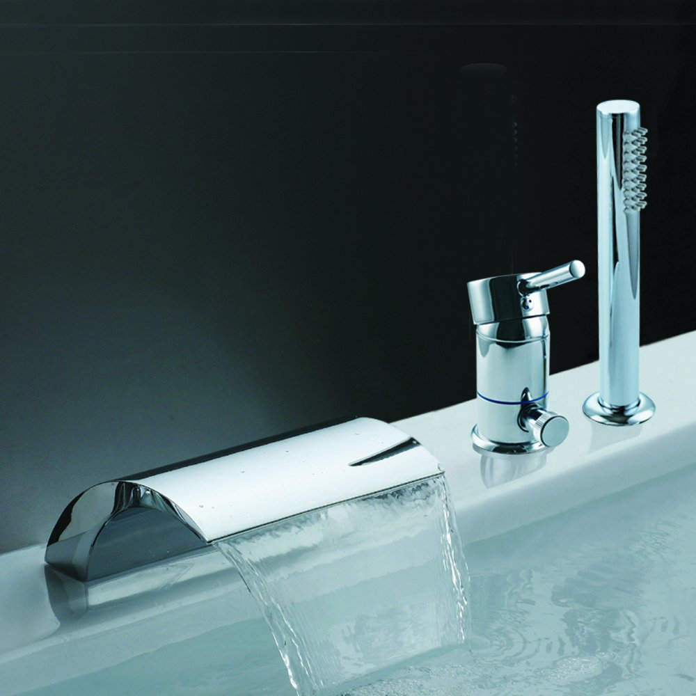 Waterfall Spout Bathroom Faucet: KES Bathroom Roman Tub Faucet With Hand Shower 3-Hole