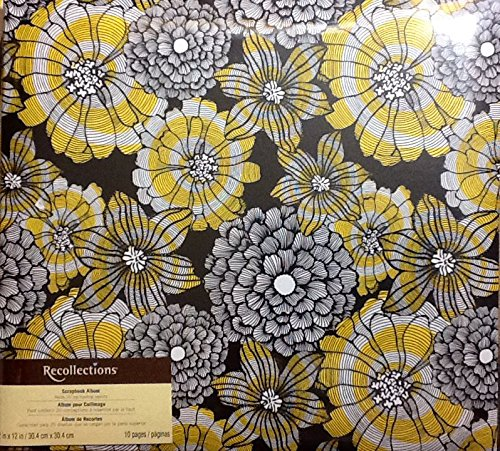 recollections-scrapbook-album-for-12-x-12-pages-black-white-yellow-flowers