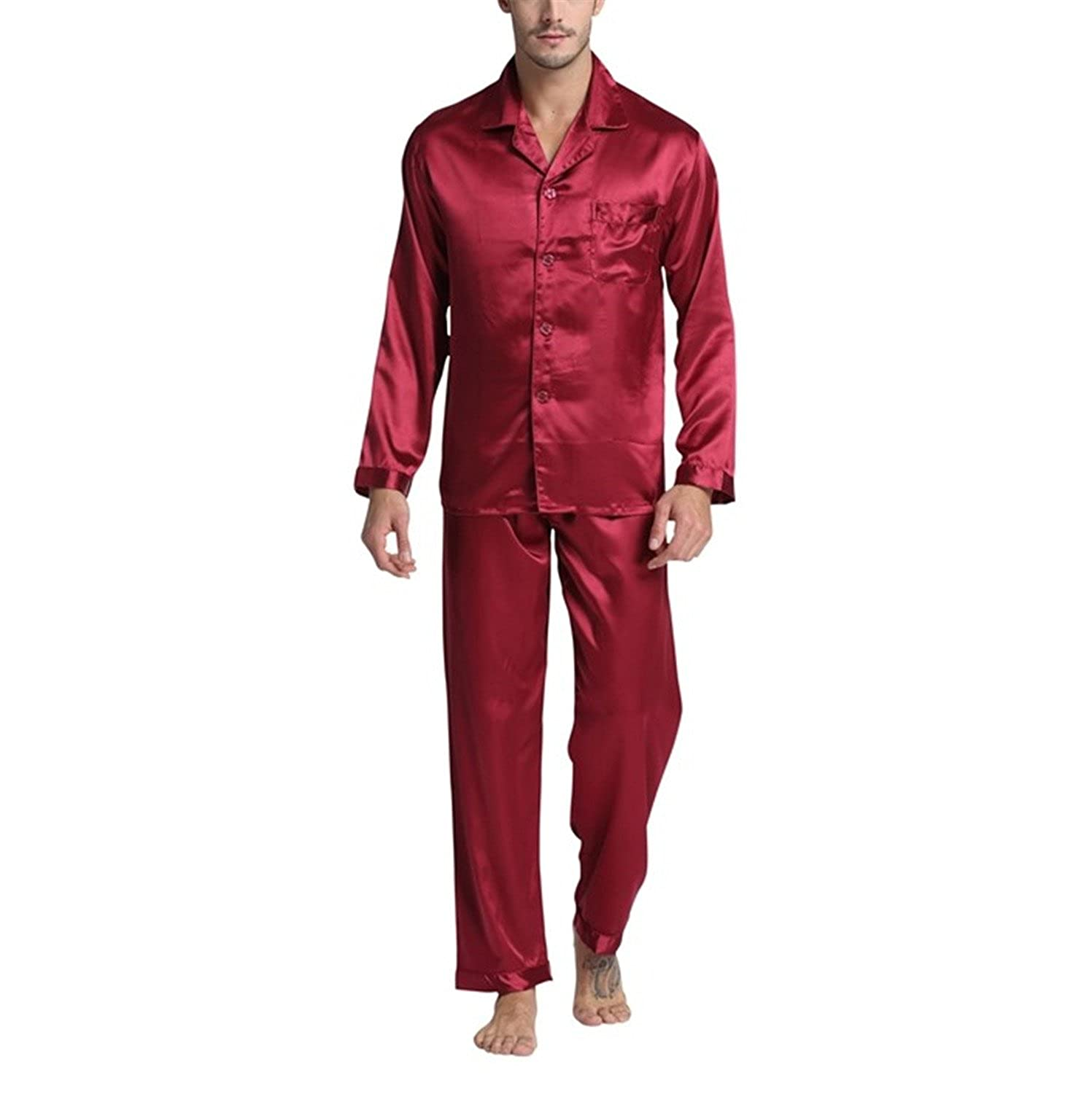 Michael Stevenson New Arrival MenS Stain Silk Pajamas Set Modern Style Silk Nightgown Men Satin Sleepwear Soft Cozy For Sleep As Picture Xxl at Amazon ...