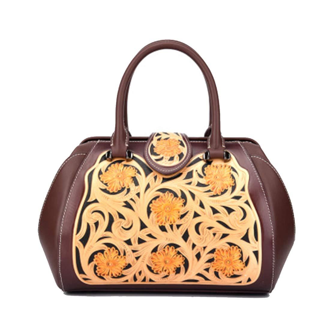 新しい革の彫刻ハンドバッグ中国スタイルのファッションエンボスド女性大きなバッグ斜めハンドバッグハンドバッグレトロフラワーハンドバッグ B07G917G9F Brown One Size