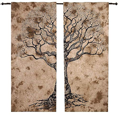 - RATANA Brown Tree Curtain Set Wall Hanging Mandala Window Curtains Panels Pair 82 Length Set of 2 Tapestry Curtains Boho Curtains Tapestry Drapes Mandala Wall Hanging Indian Curtains Mandala Window