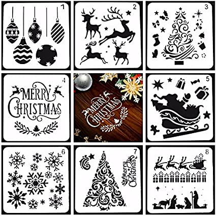 Scrapbook Glass Greeting Card Notebook Face Cookie Home Decor ESideStep 8Pcs Christmas Stencils Templates Painting DIY Crafts Templates Xmas Christmas Stencils for or Spraying