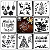 Ai-life 8Pcs Christmas Series Plastic Stencils Set with Merry Christmas, Santa Claus, Christmas Tree, Snowflakes, Bulbs, Reindeers for Bullet Journal Planner Card DIY Drawing Painting Craft Projects, 13x13cm