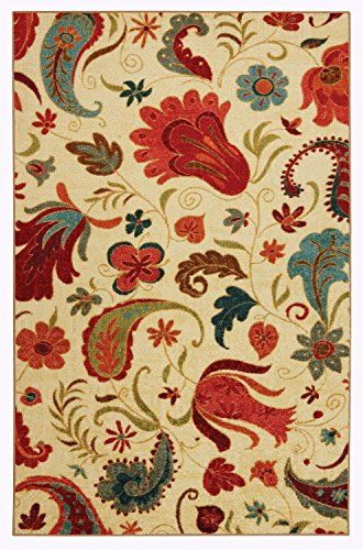 Mohawk Home 58110 58013 030046 Strata Tropical Acres Paisley Floral Printed Area Rug, Beige, 2'6 x 3'10